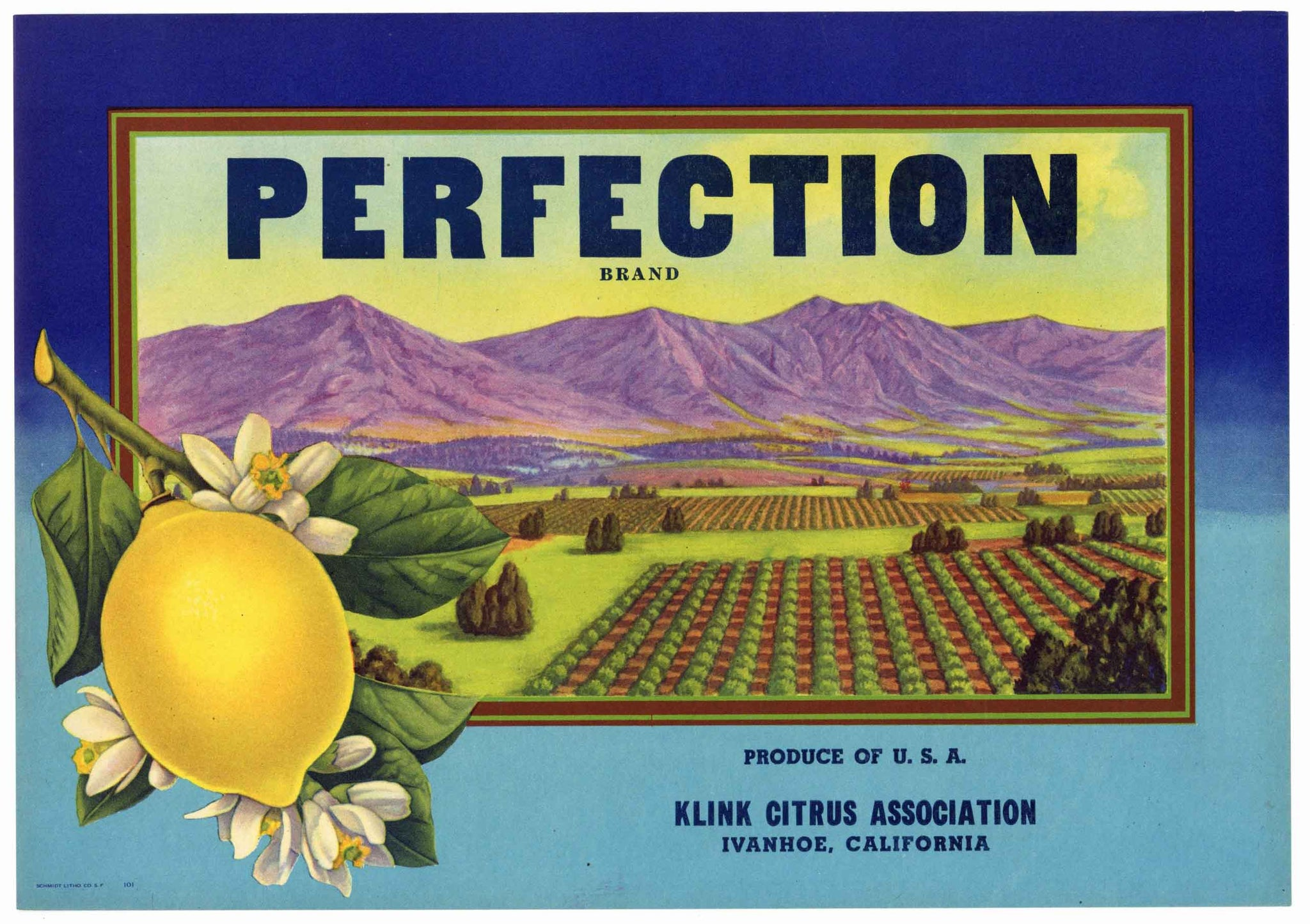 Perfection Brand Vintage Lemon Crate Label, stock