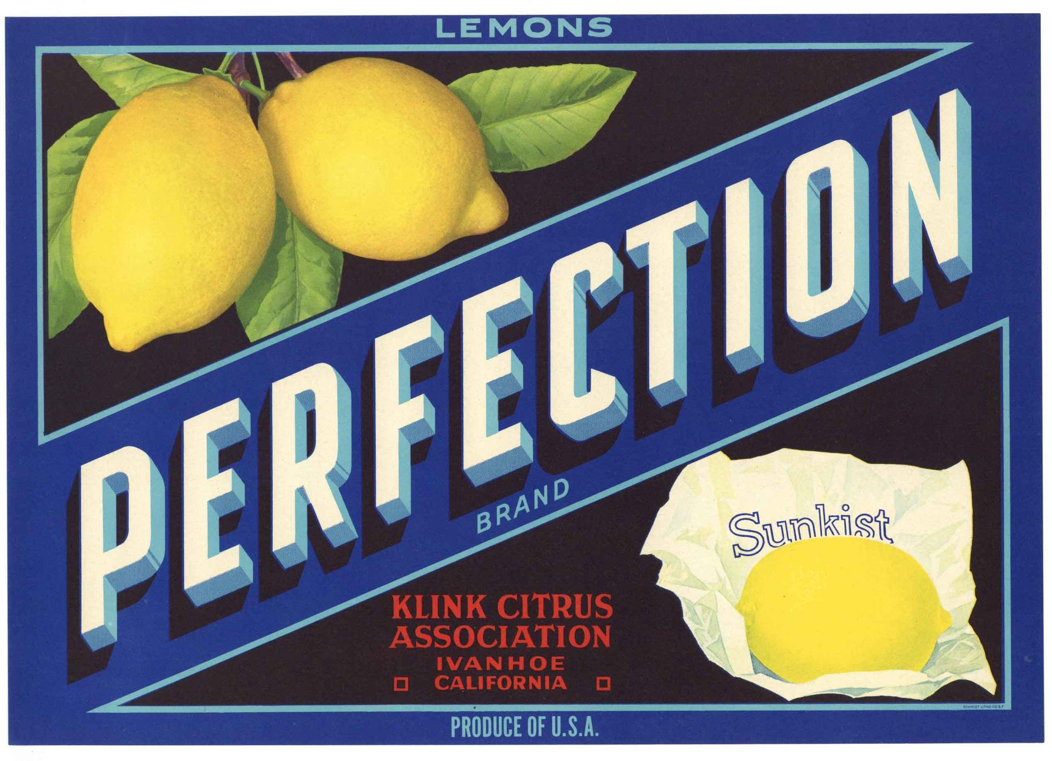 Perfection Brand Vintage Lemon Crate Label, script