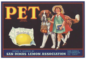 Pet Brand Vintage San Dimas Lemon Crate Label