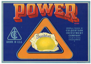 Power Brand Vintage Ventura Lemon Crate Label