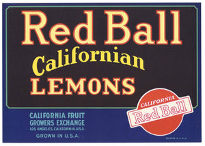 Red Ball Brand Vintage Lemon Crate Label
