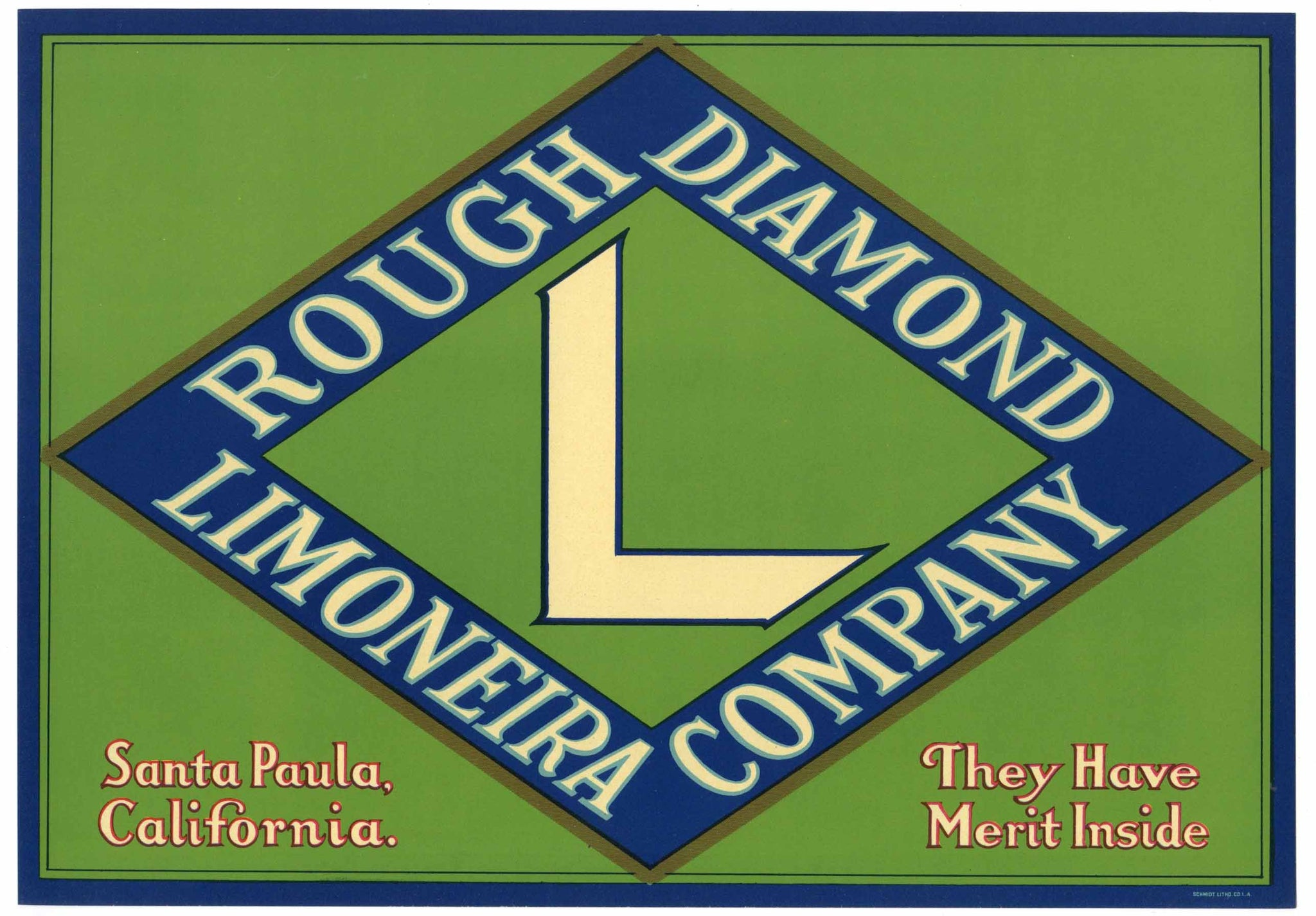 Rough Daimond Brand Vintage Santa Paula Lemon Crate Label