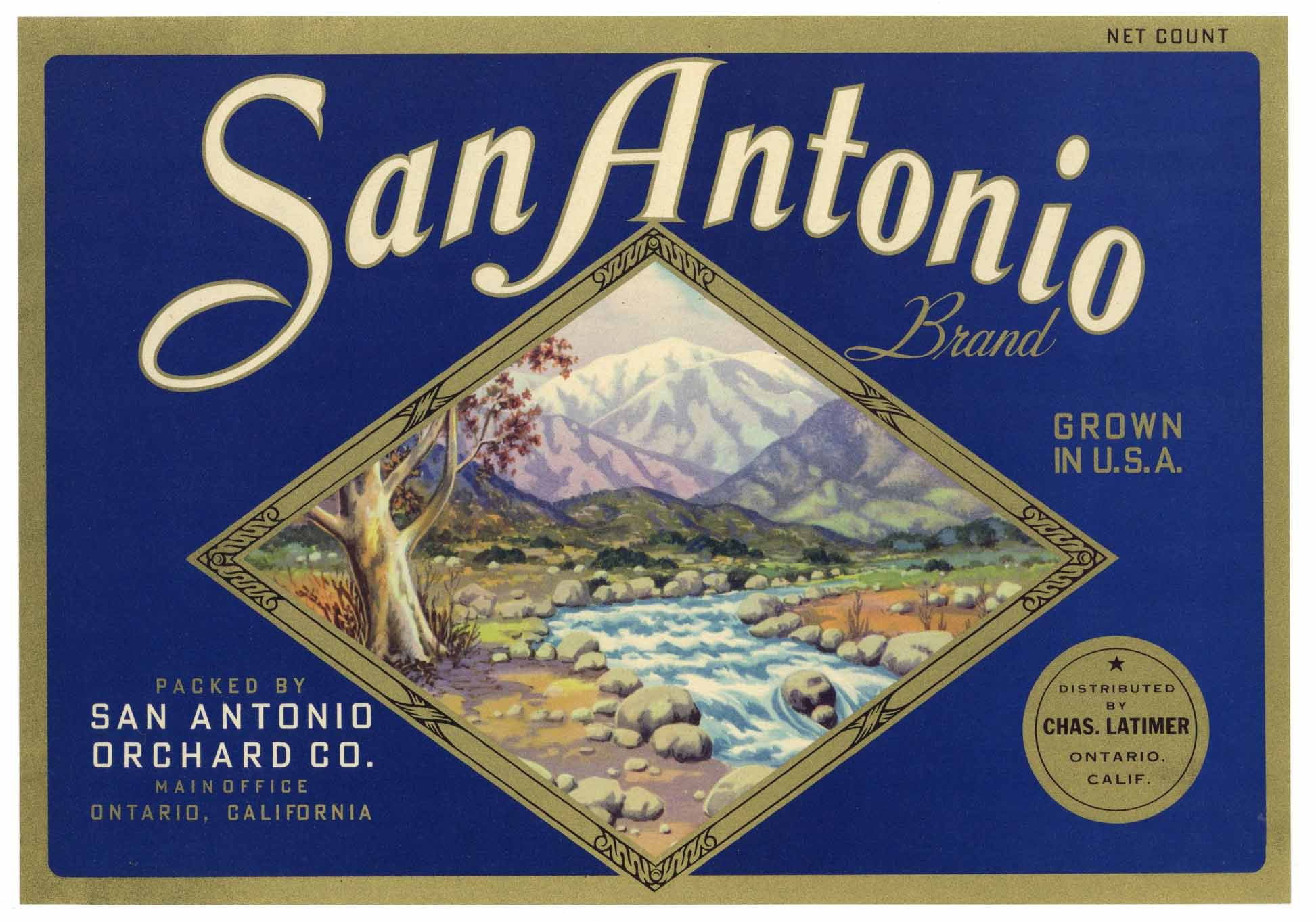 San Antonio Brand Vintage Ontario Lemon Crate Label
