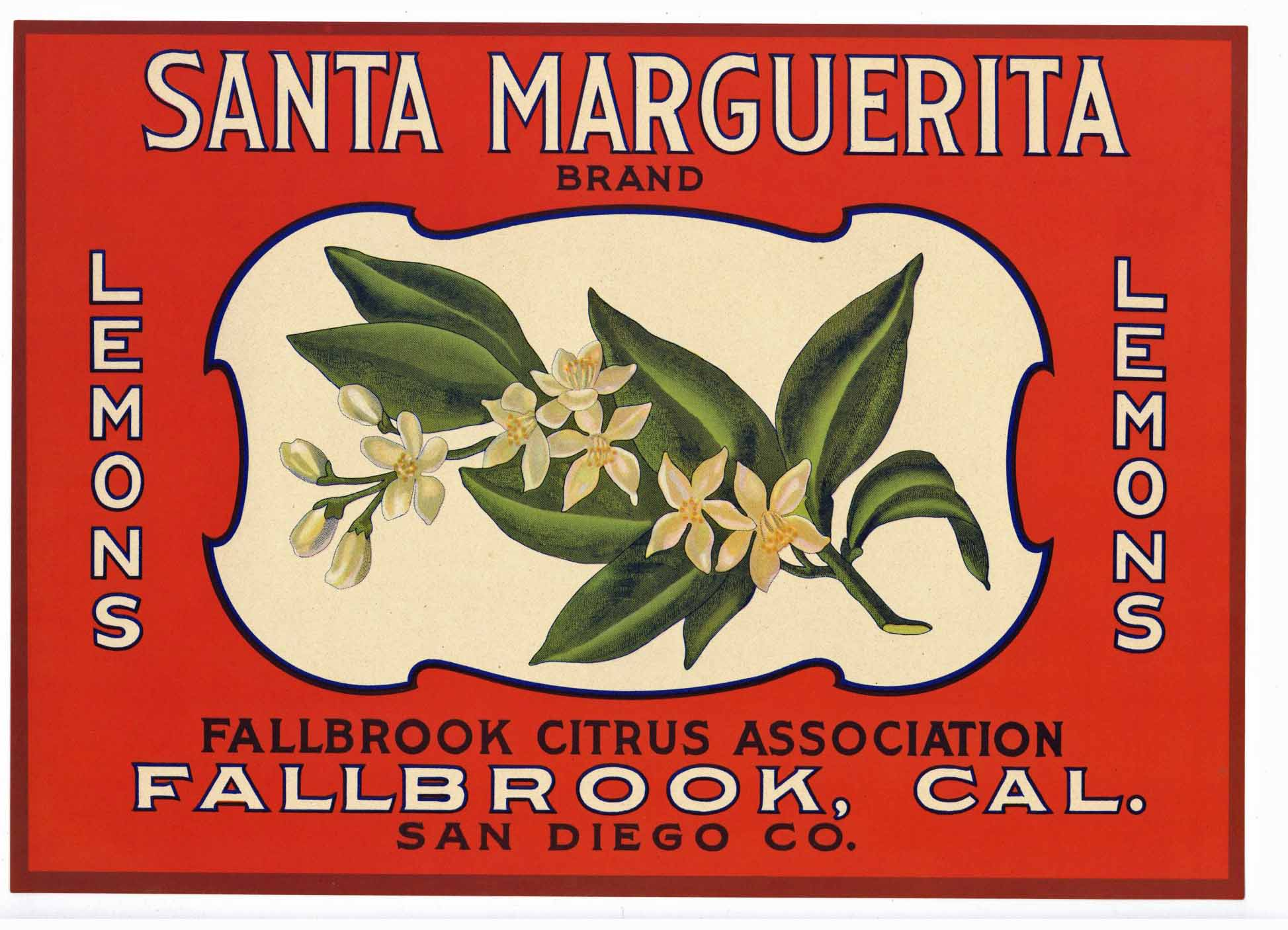 Santa Marguerita Brand Vintage Fallbrook Lemon Crate Label