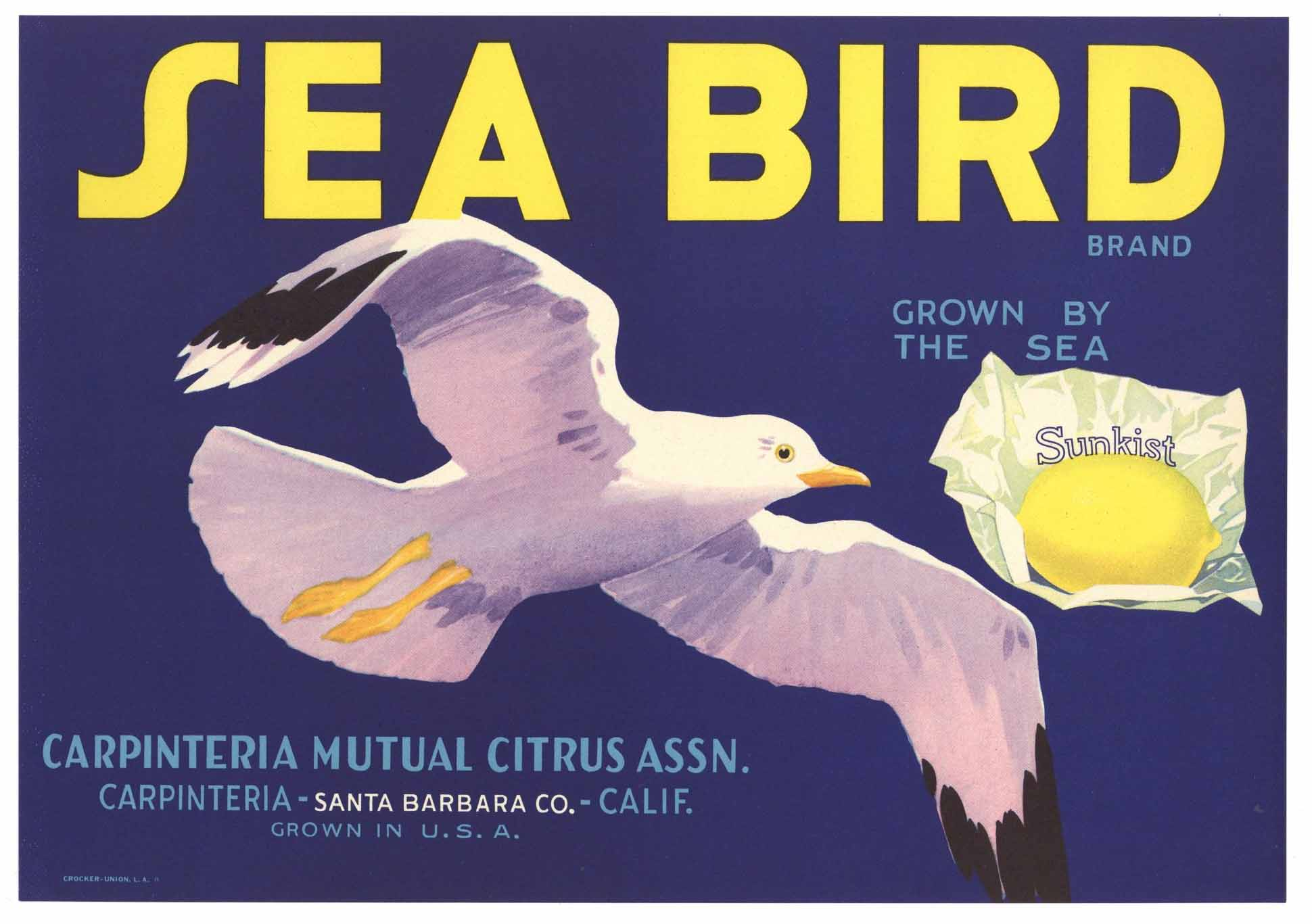 Sea Bird Brand Vintage Carpinteria Lemon Crate Label