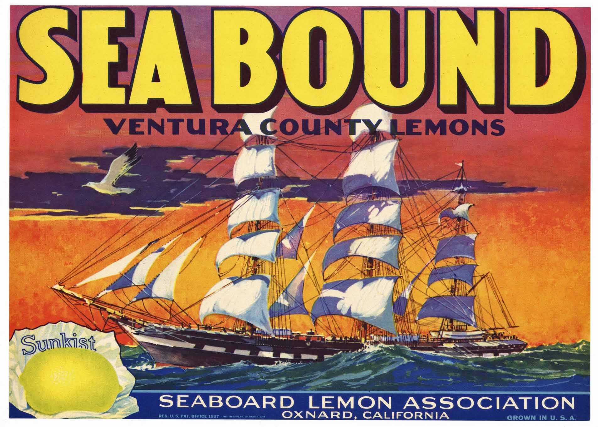 Sea Bound Brand Vintage Oxnard California Lemon Crate Label