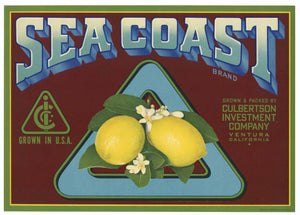 Sea Coast Brand Vintage Ventura California Lemon Crate Label