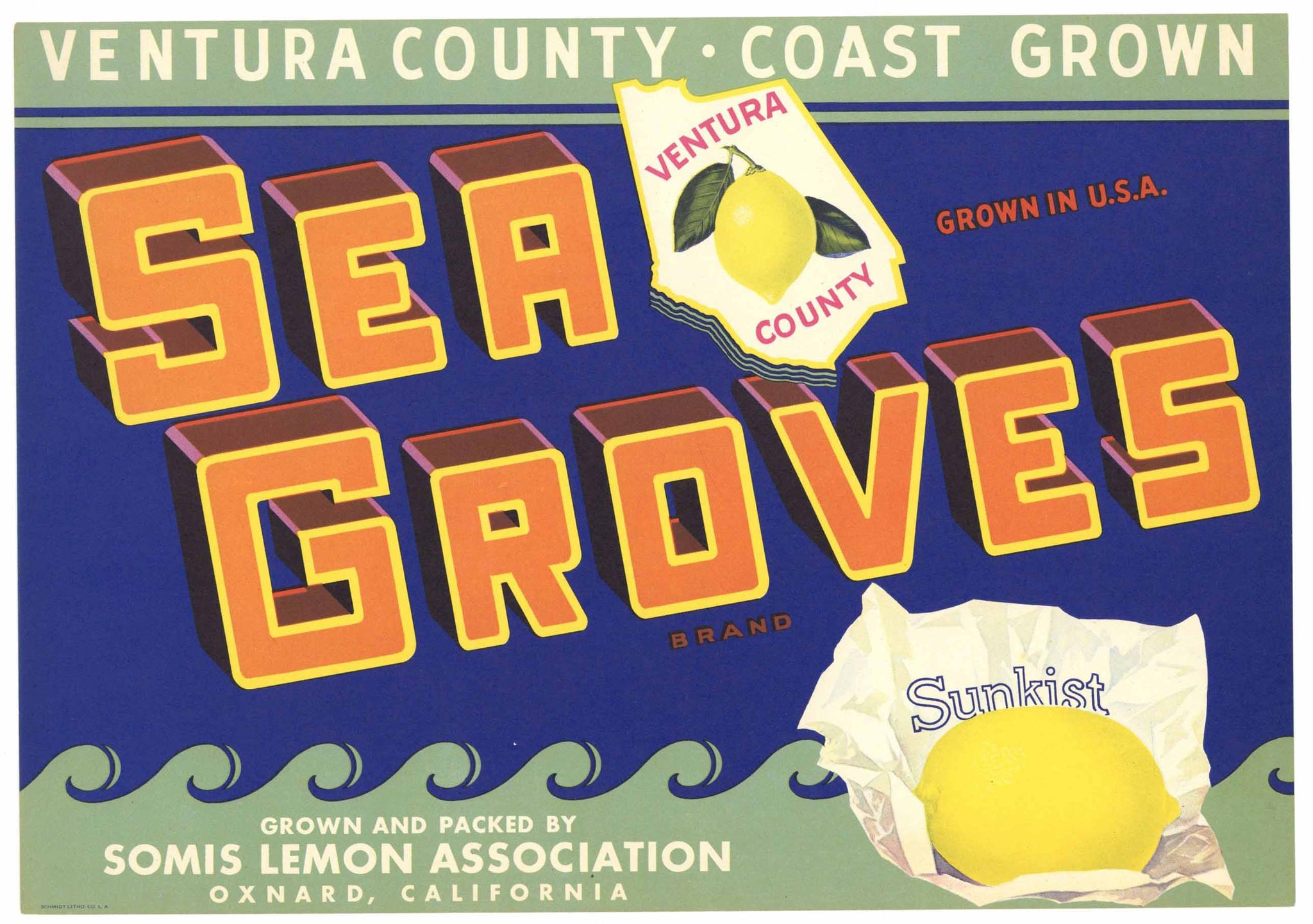 Sea Groves Brand Vintage Oxnard Lemon Crate Label