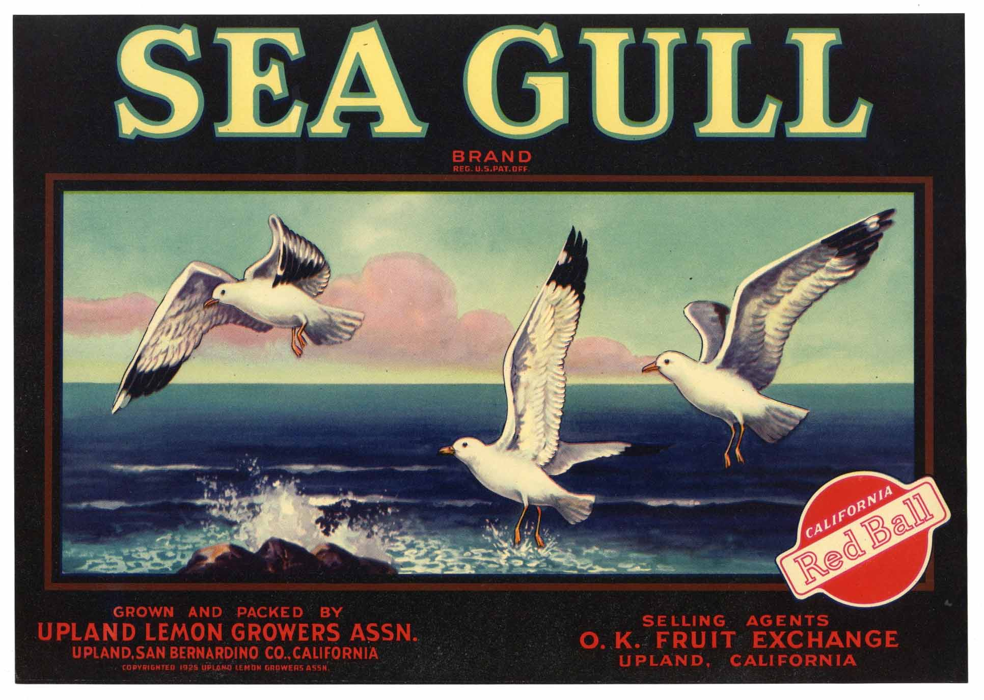 Sea Gull Brand Vintage Upland California Lemon Crate Label