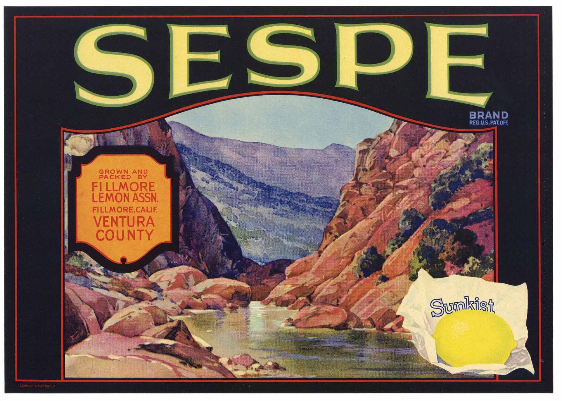 Sespe Brand Vintage Fillmore California Lemon Crate Label
