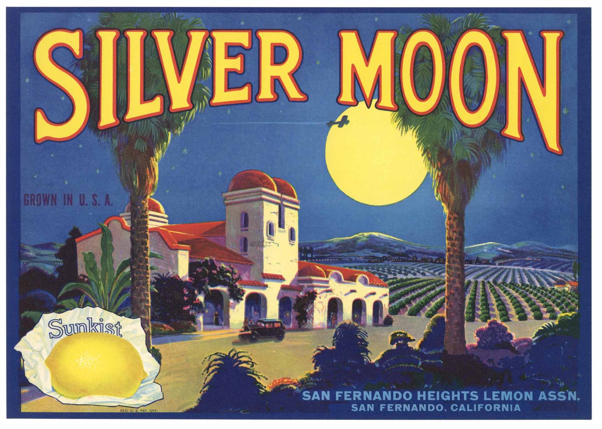 Silver Moon Brand Vintage San Fernando California Lemon Crate Label