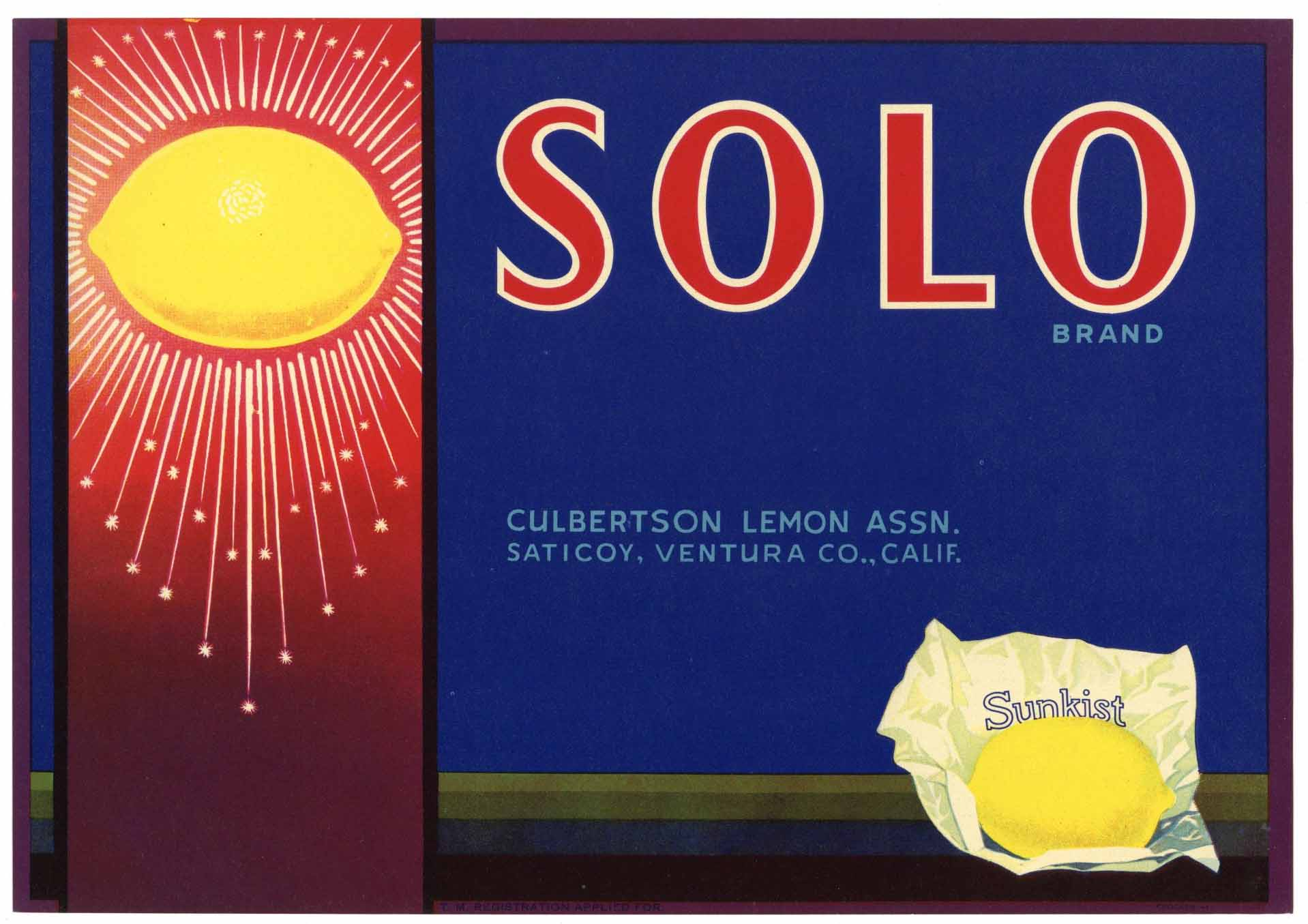 Solo Brand Vintage Saticoy California Lemon Crate Label