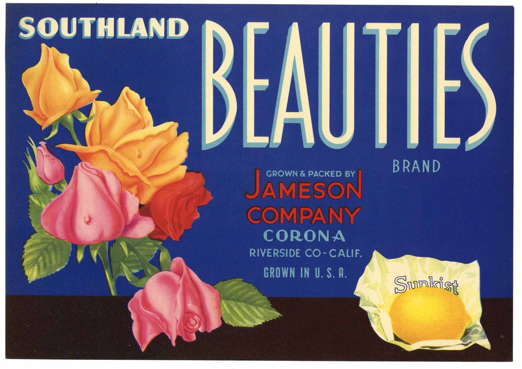 Southland Beauties Brand Vintage Riverside California Lemon Crate Label