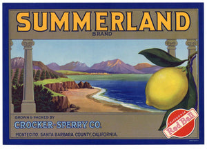 Summerland Brand Vintage Montecito Lemon Crate Label