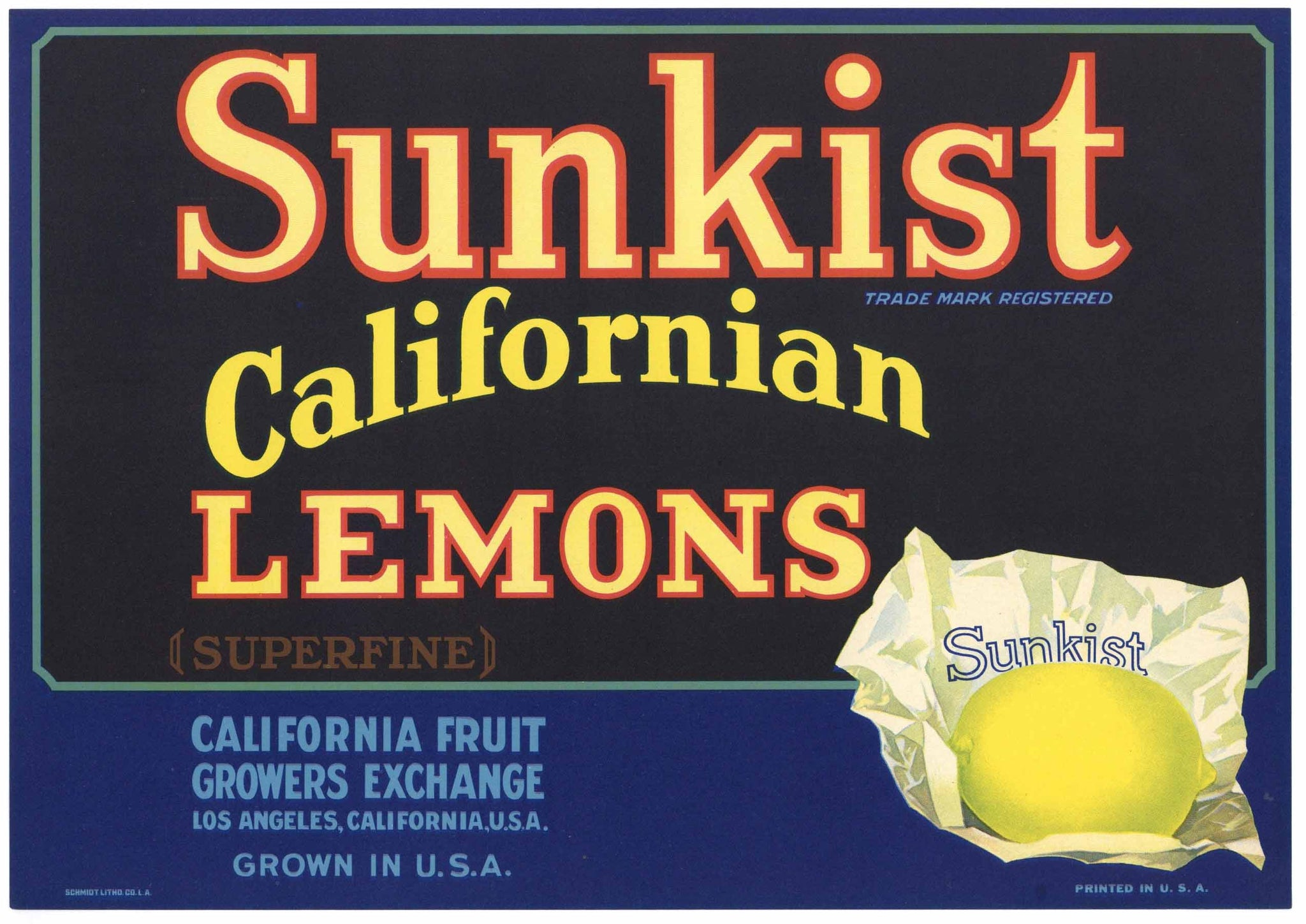 Sunkist Brand Vintage Lemon Crate Label
