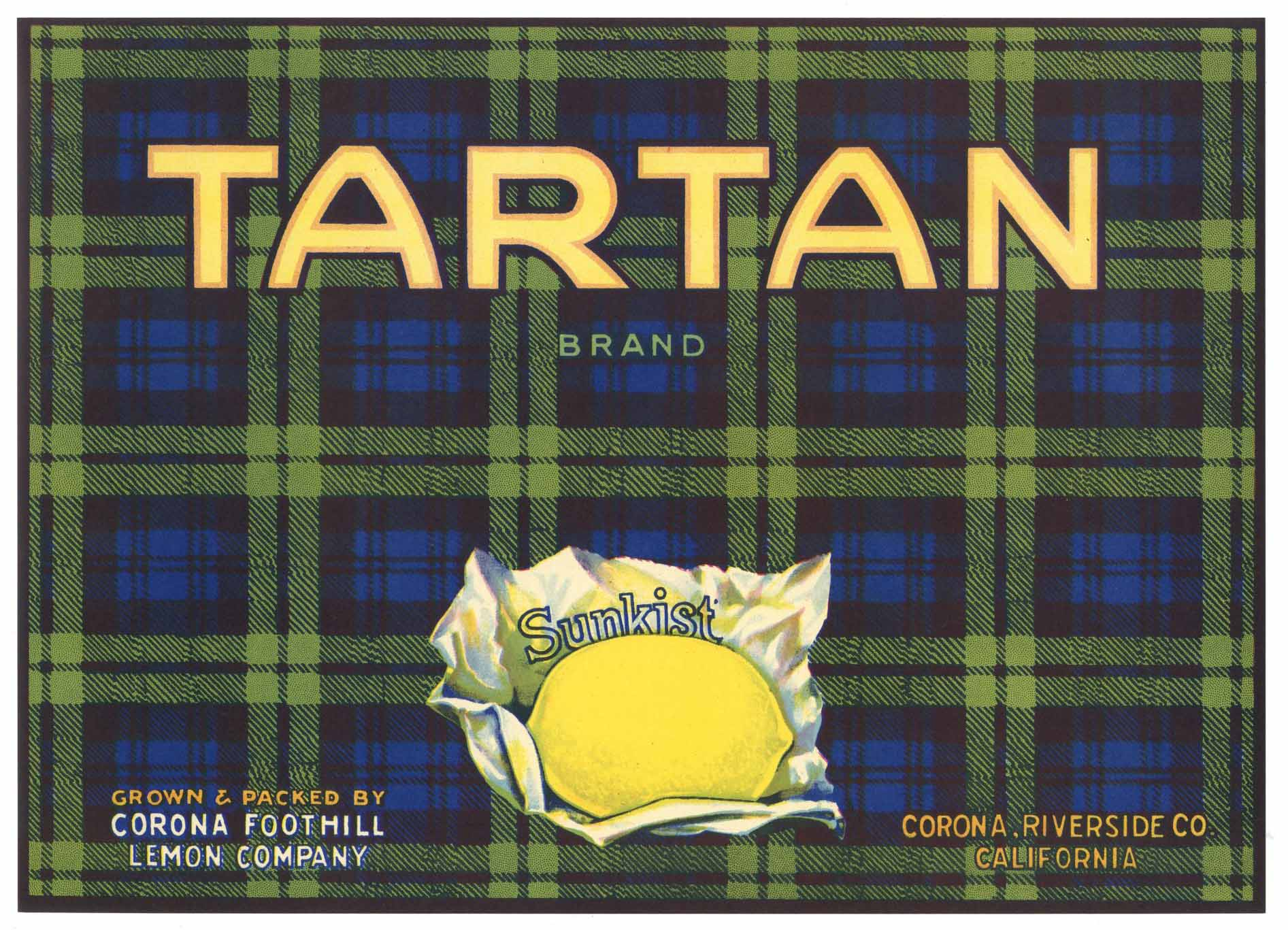 Tartan Brand Vintage Corona California Lemon Crate Label