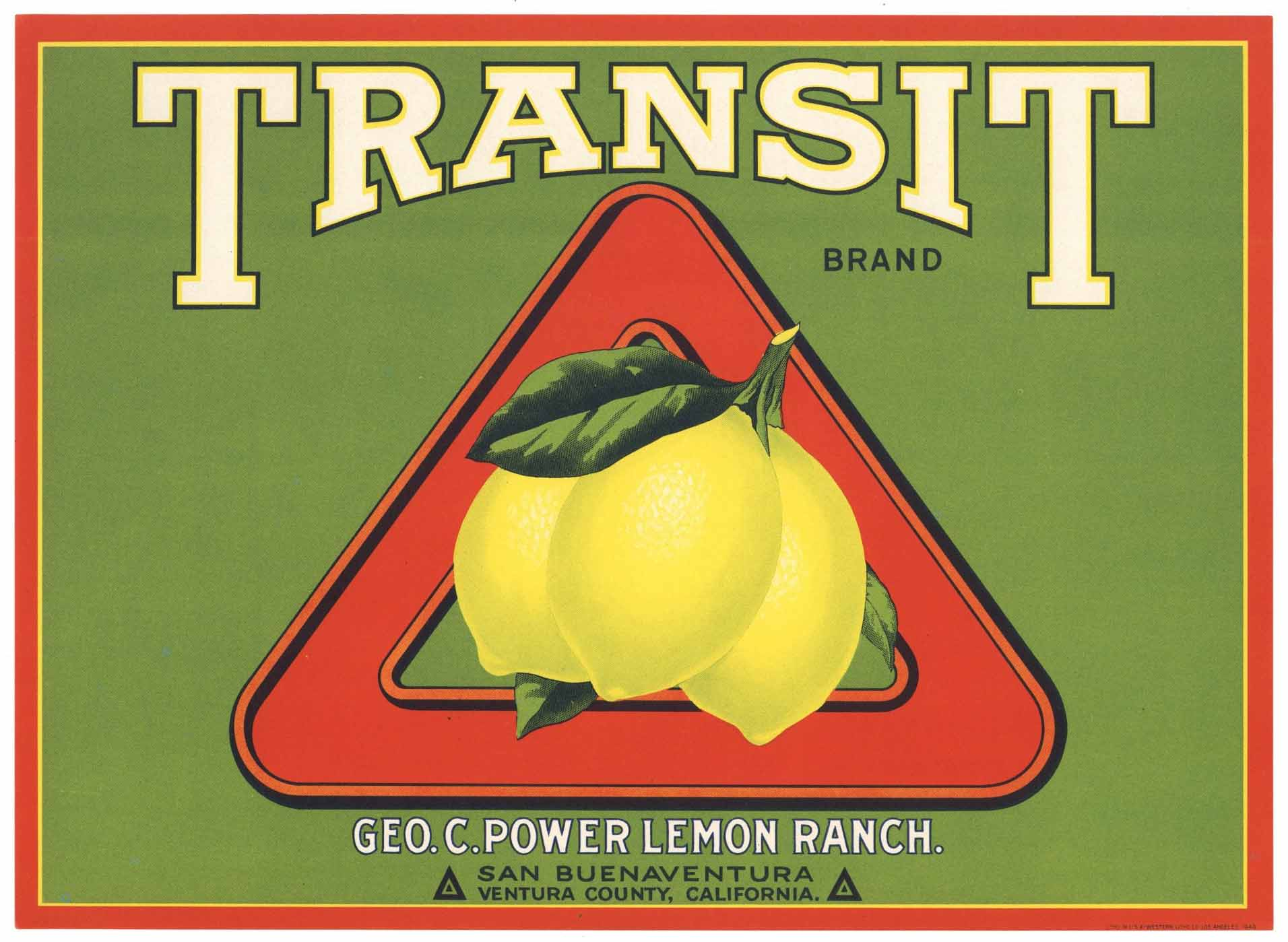 Transit Brand Vintage Ventura County California Lemon Crate Label