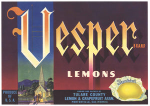 Vesper Brand Vintage Tulare County Lemon Crate Label
