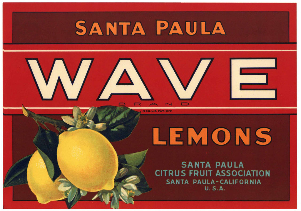 Wave Brand Vintage Santa Paula Lemon Crate Label