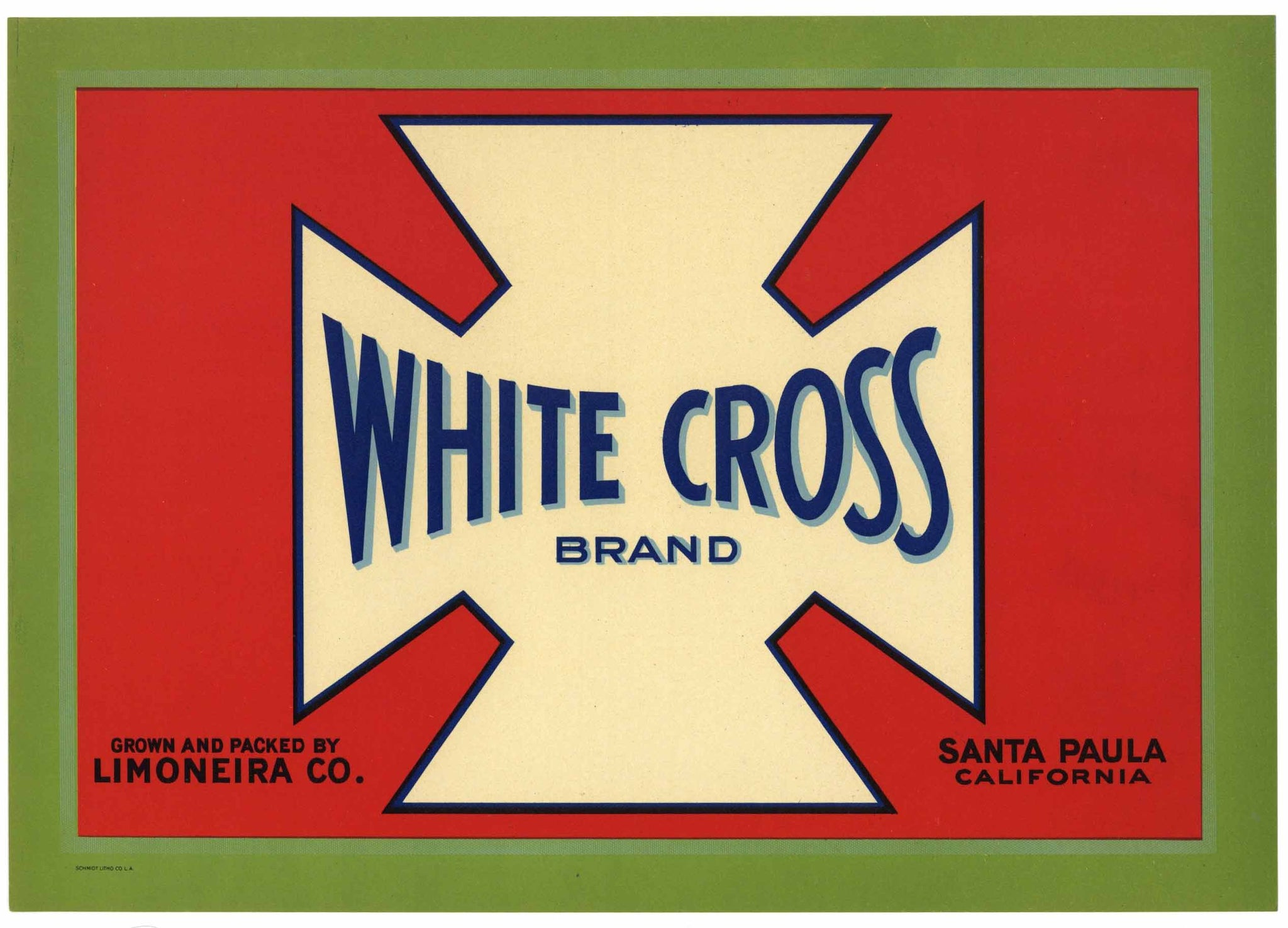 White Cross Brand Vintage Santa Paula Lemon Crate Label