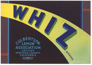 Whiz Brand Vintage Ventura County Lemon Crate Label