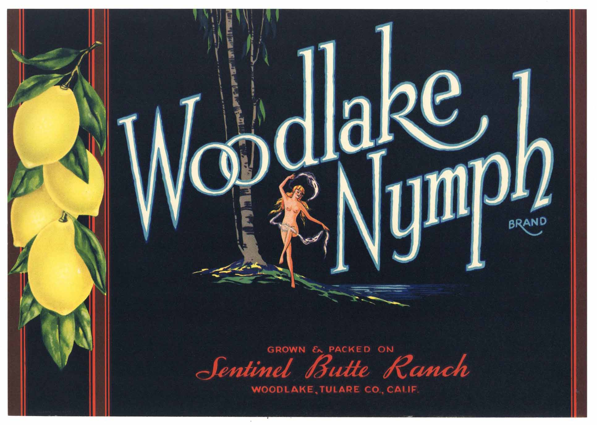 Woodlake Nymph Brand Vintage Lemon Crate Label