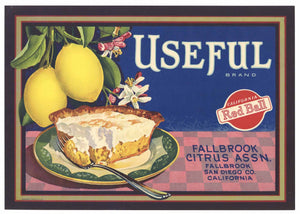 Useful Brand Vintage Fallbrook California Lemon Crate Label