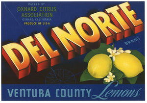 Del Norte Brand Vintage Ventura County Lemon Crate Label
