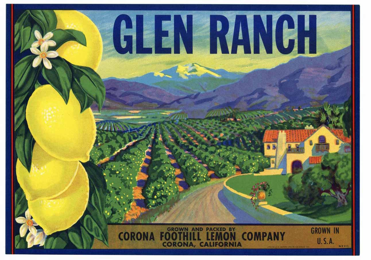 Glen Ranch Brand Vintage Corona Lemon Crate Label