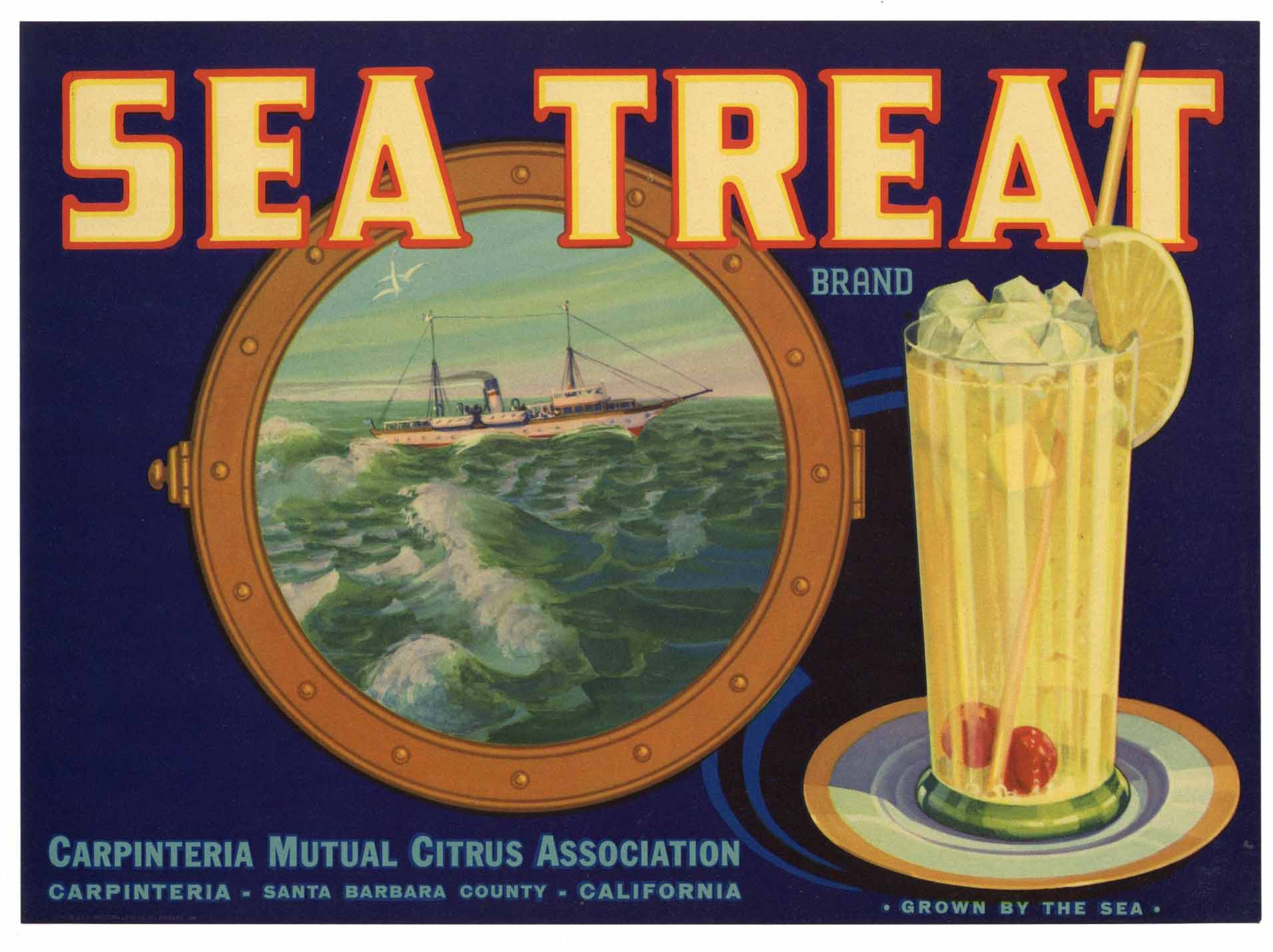 Sea Treat Brand Vintage Carpinteria California Lemon Crate Label