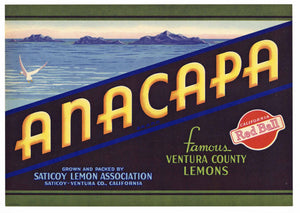 ANACAPA Brand Vintage Lemon Crate Label (L190)