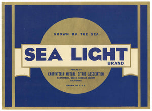 Sea Light Brand Vintage Capinteria Lemon Crate Label