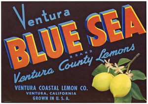 Blue Sea Brand Vintage Ventura County Lemon Crate Label