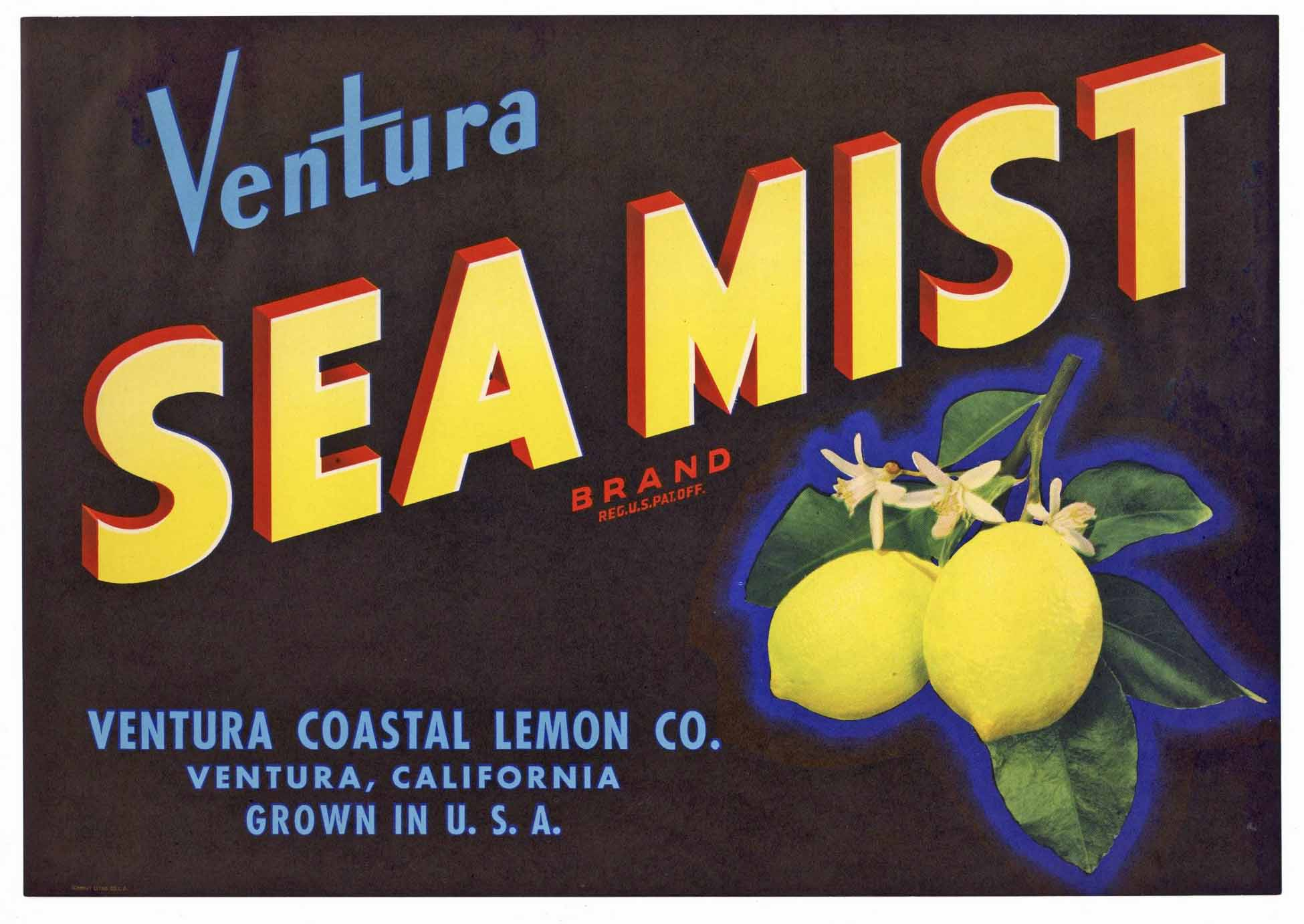 Sea Mist Brand Vintage Ventura California Lemon Crate Label