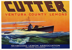 Cutter Brand Vintage Oxnard Lemon Crate Label