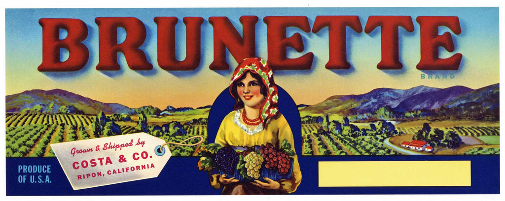 Brunette Brand Vintage Wine Grape Crate Label