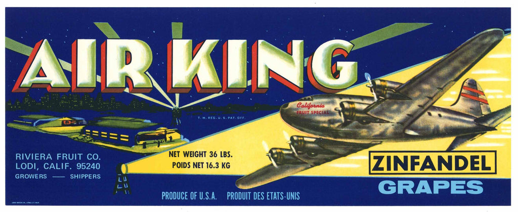 Air King Brand Vintage Zinfandel Grape Crate Label