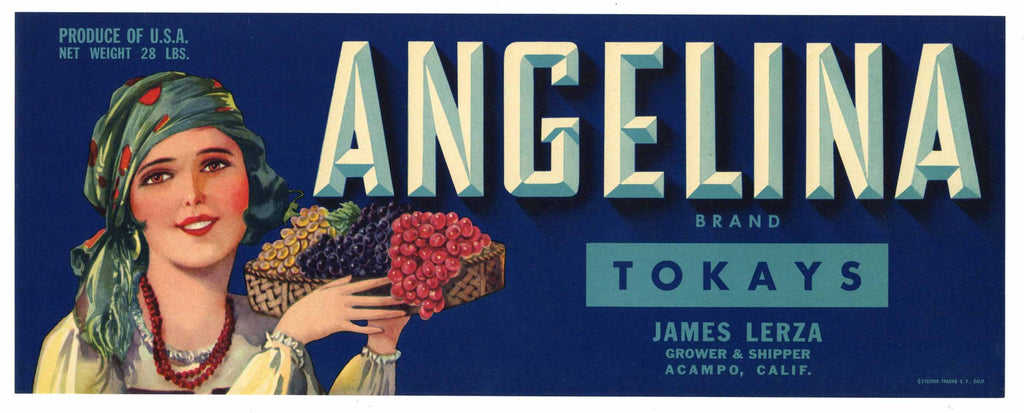 Angelina Brand Vintage Lodi Tokay Grape Crate Label, blue