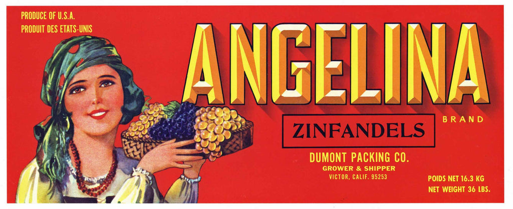 Angelina Brand Vintage Zinfandel Grape Crate Label