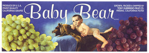 Baby Bear Brand Vintage Fresno Grape Crate Label, L