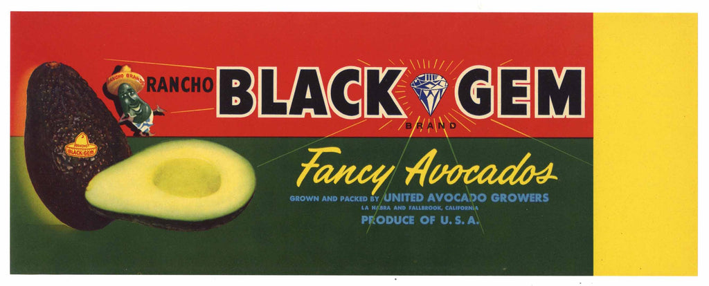 Black Gem Brand Vintage La Habra Avocado Crate Label
