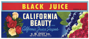 California Beauty Brand Vintage Wine Grape Crate Label