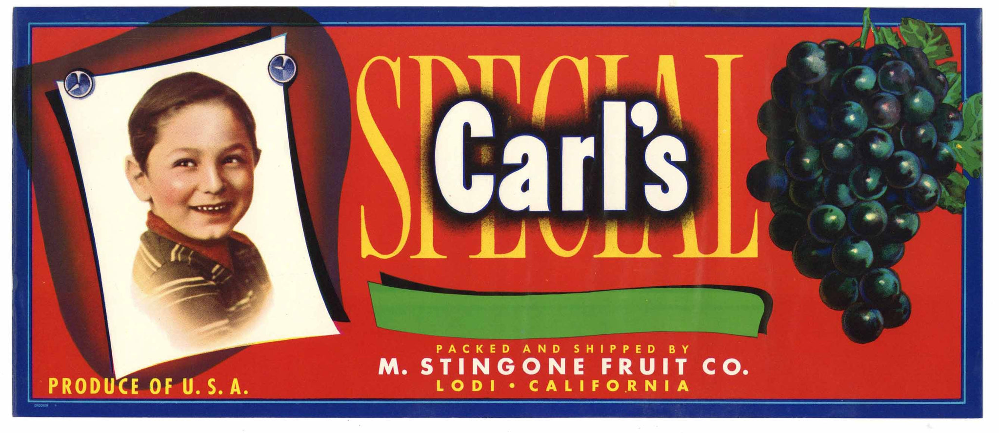 Carl's Brand Vintage Lodi Wine Grape Crate Label