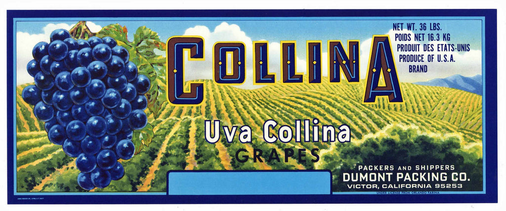 Collina Brand Vintage Wine Grape Crate Label