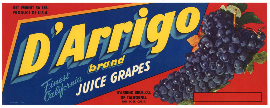 D'Arrigo Brand Vintage San Jose Wine Grape Crate Label