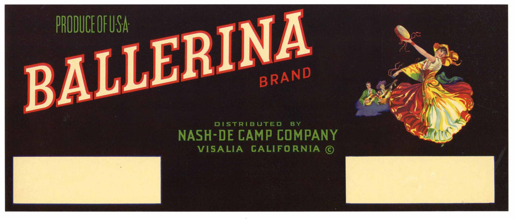 Ballerina Brand Vintage Fruit Crate Label, Large