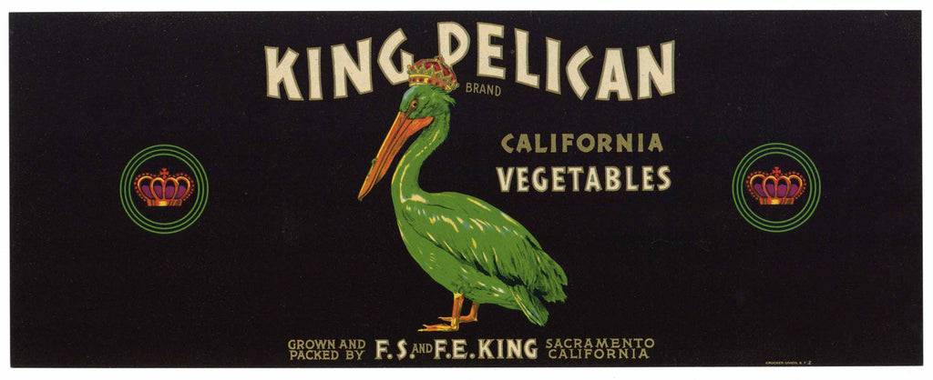 King Pelican Brand Vintage Vegetable Crate Label, lug