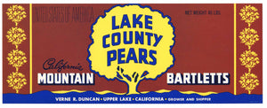 Lake County Pears Brand Vintage Upper Lake Pear Crate Label