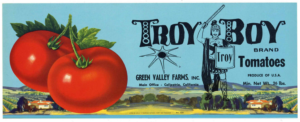 Troy Boy Brand Vintage Calipatria Tomato Crate Label