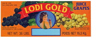 Lodi Gold Brand Vintage Wine Grape Crate Label